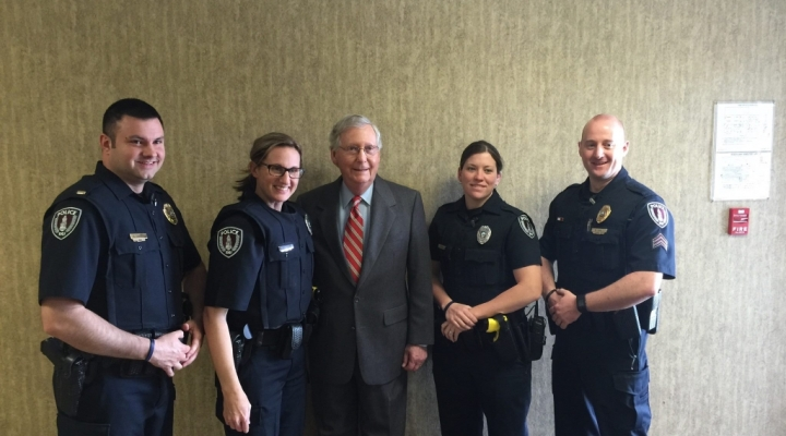 EKU Police Officers with Senator Mitch McConnell