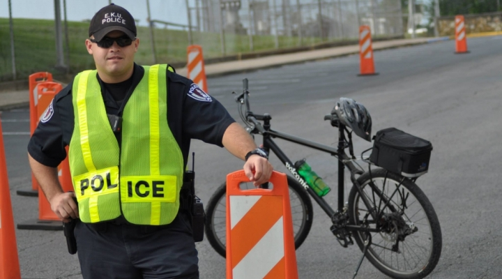 EKU Police Officer with Safety Vest